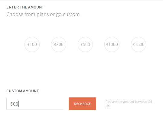 Freecharge Google Play Recharge - Enter amount