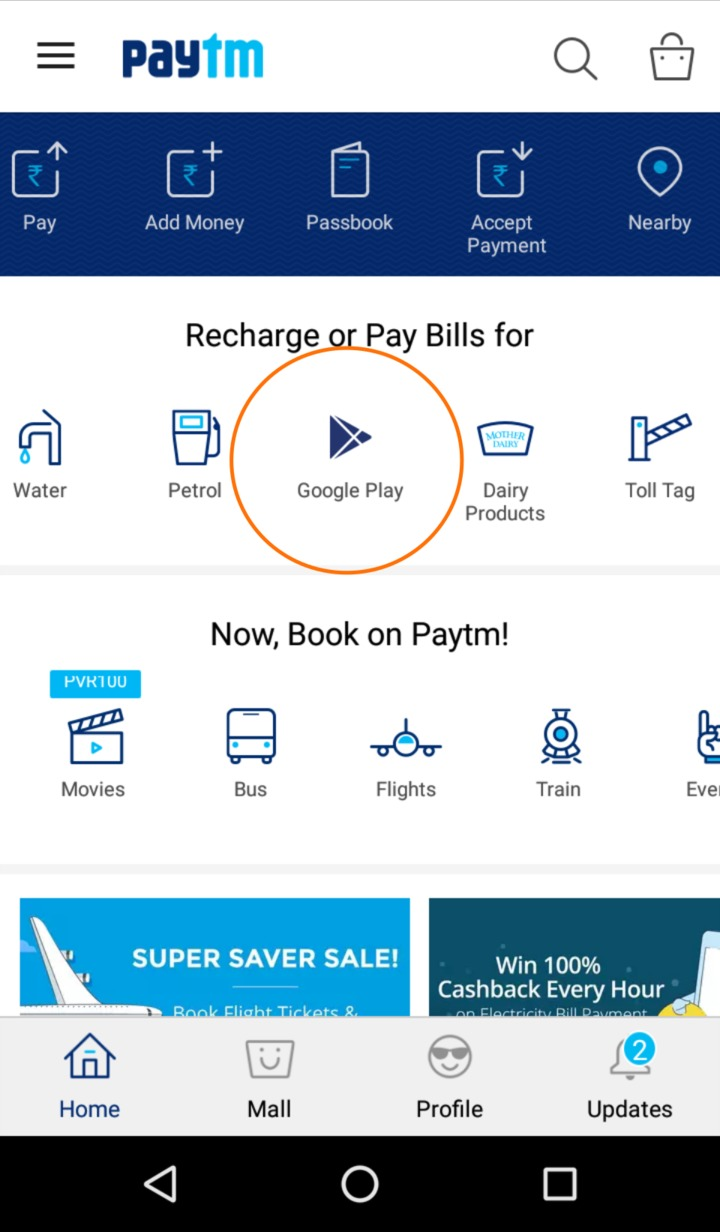 Paytm Google Play Recharge