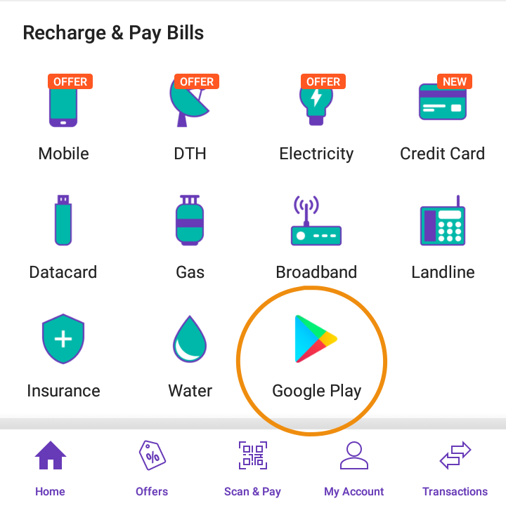PhonePe Google Play Recharge