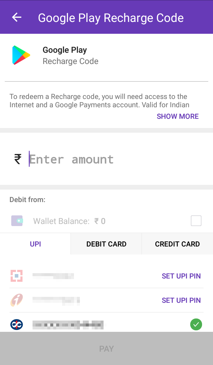 Google Play Recharge - Enter amount
