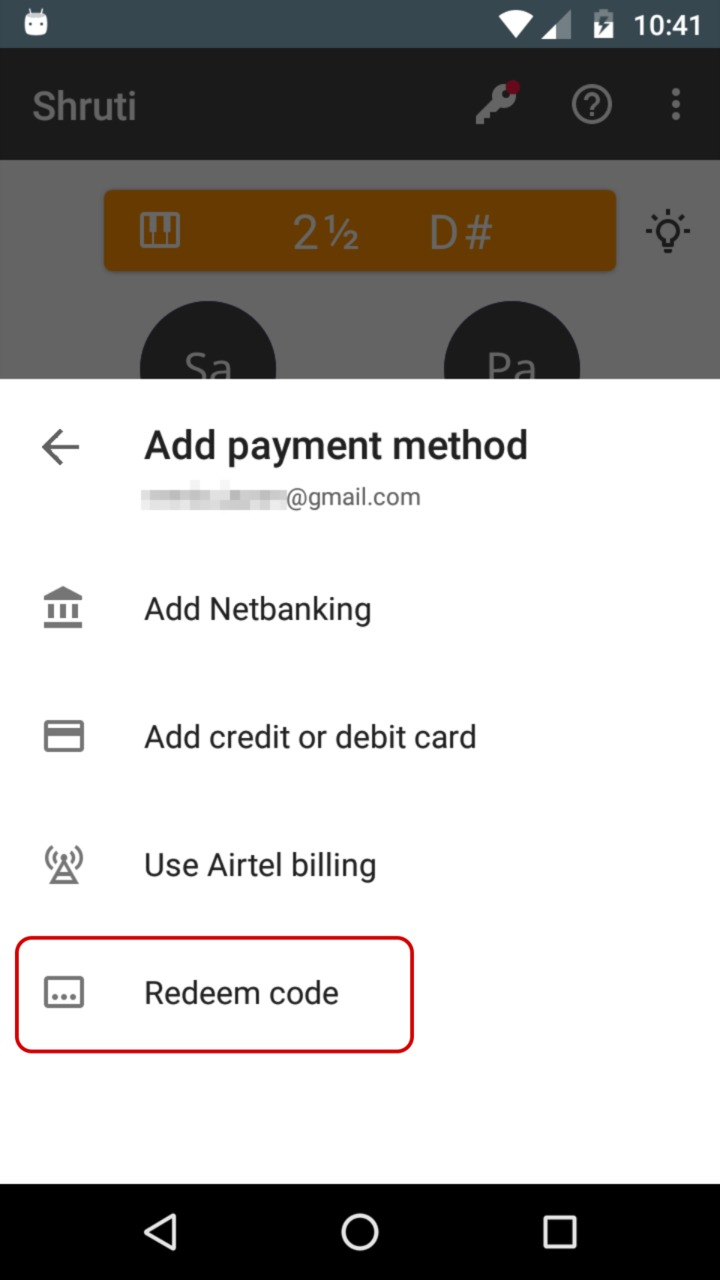 Redeem Google Play Recharge. Code entry.